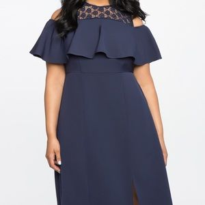 Eloquii Navy Cold Shoulder Dress with Lace SZ 20